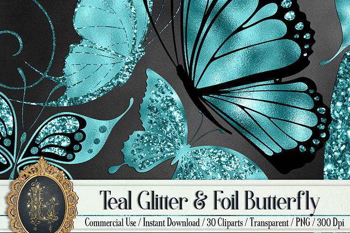 30 Teal Glitter Foil Wedding Butterfly Digital Images