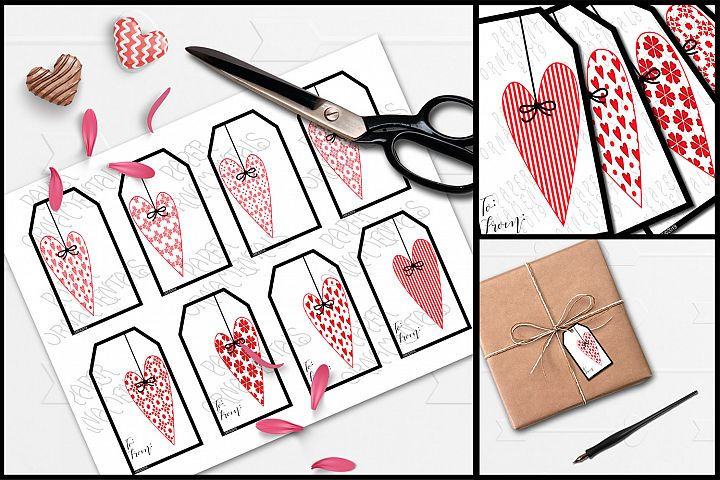 Printable Valentine Gift Tags, Prim Heart To/From Tags Set 2