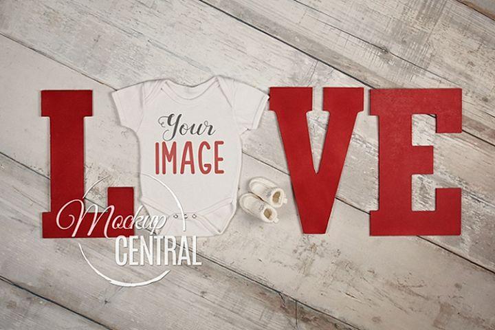 Baby Blank White Onepiece Bodysuit LOVE Mockup, JPG File
