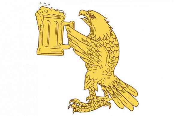 american bald eagle beer stein drawing design bundles