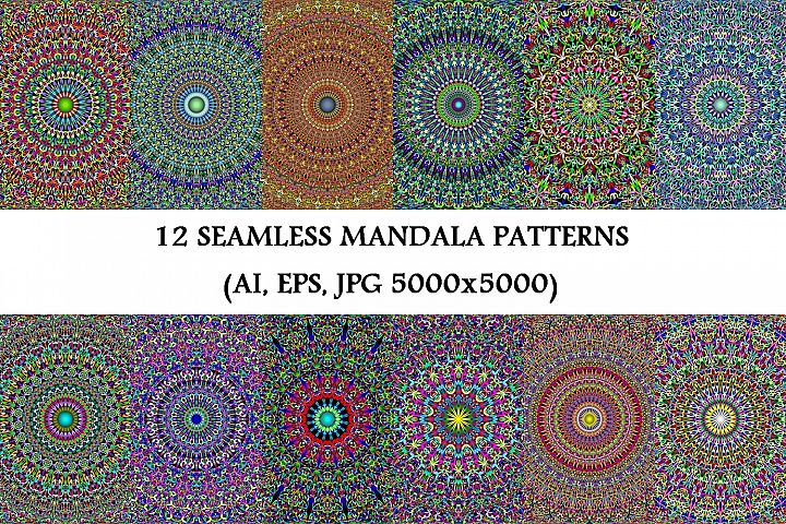 12 Floral Mandala Seamless Patterns - AI, EPS, JPG 5000x5000