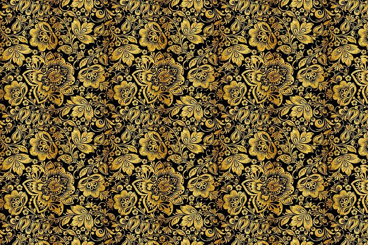Floral gold seamless pattern. Hohloma. example image 5