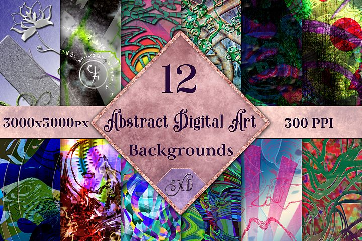 Abstract Digital Art Backgrounds - 12 Image Set