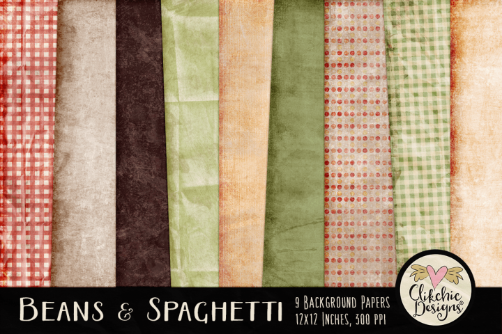 Grunge Backgrounds - Grunge Beans & Spaghetti Texture Papers