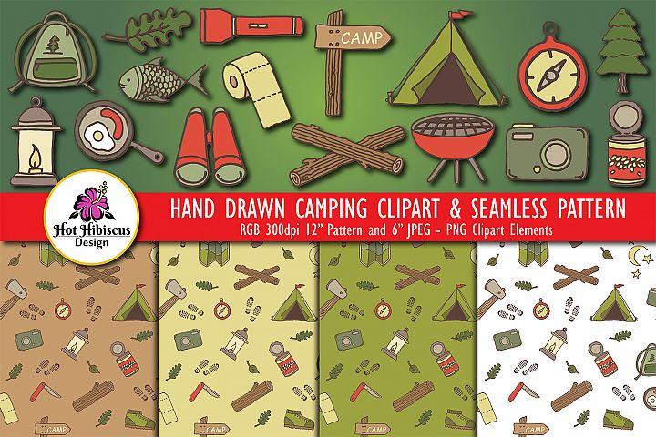Campsite Camping Outdoor Adventure Pattern Clipart Bundle