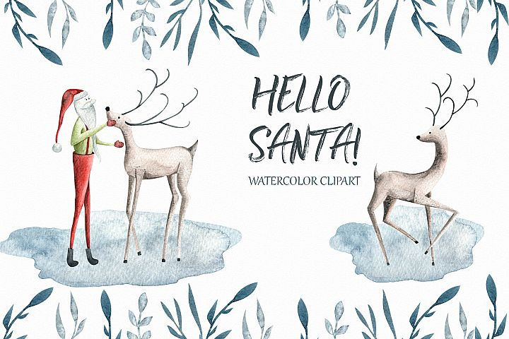 Hello Santa watercolor clipart Winter Christmas Collections