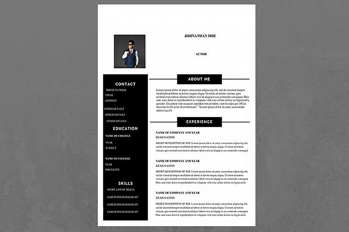 Black and White Modern Resume