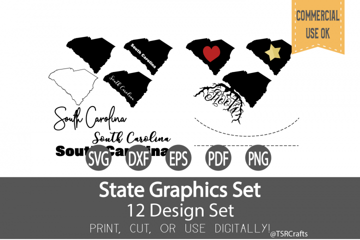 South Carolina State Graphics Set - Clip Art and Digital Cut