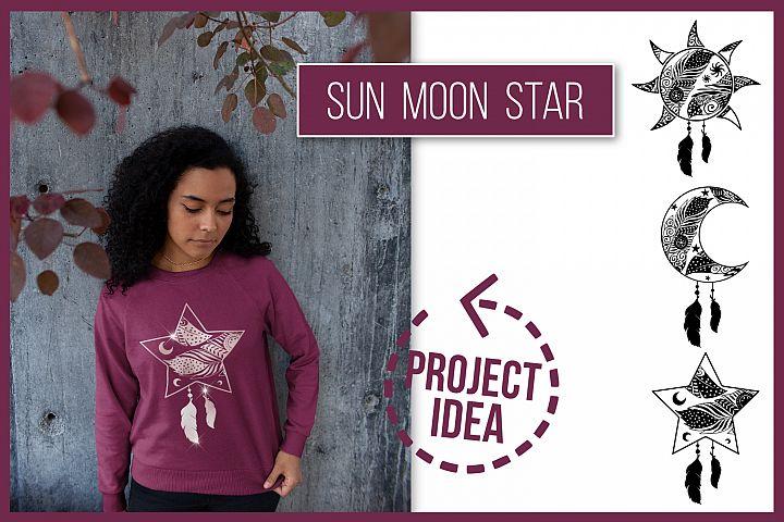 Boho style, Sun Moon Star, SVG cut files