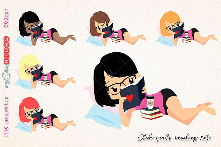 Chibi girl reading a book clipart, woman read a book clip art, png graphics set great for digital planning, stickers, cards, invitations.