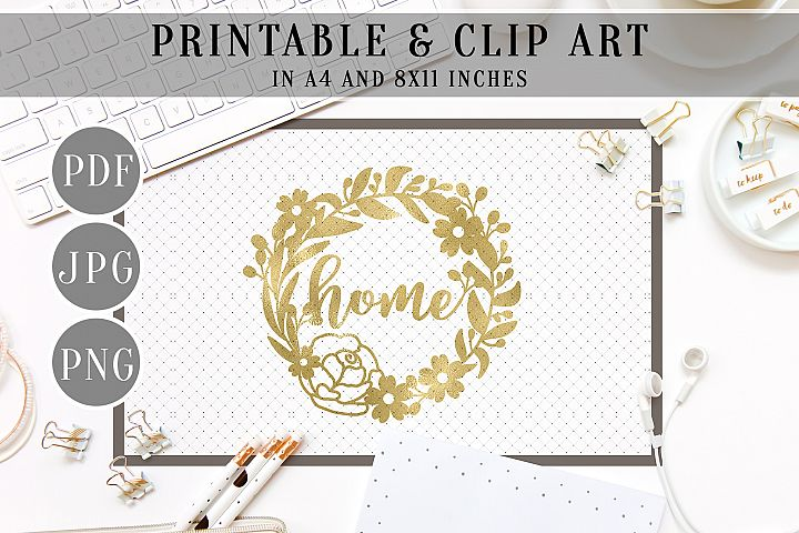 Home Gold Foil Wreath Printable, Clip Art, Home Decor, PDF