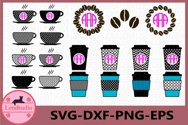 Coffee Svg, Coffee Monogram Svg Files, Vector Clip Art