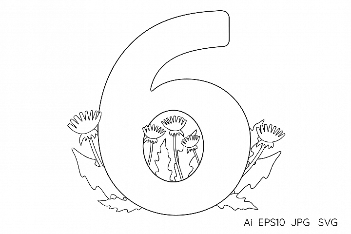 Numeral, number Six. Flowers. Coloring page.