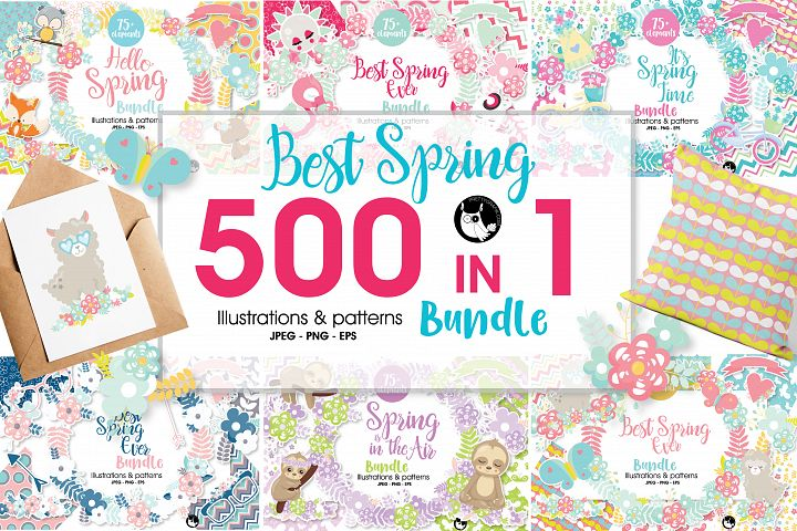 Mega Spring Bundle - 500 in 1 - 30 days only! - Graphics and Patterns