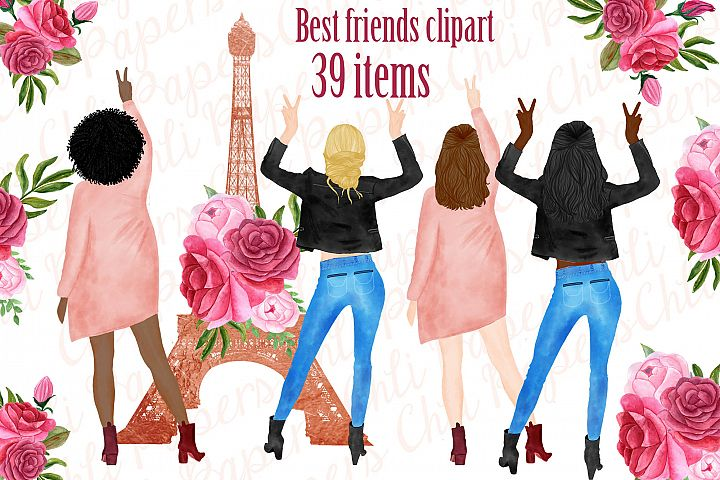 Best Friends Clipart, Paris clipart, Eiffel Tower clipart