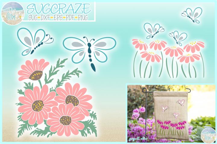 Butterflies And Daisies Svg Dxf Eps Png Pdf