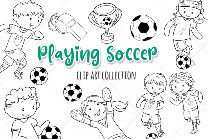 Kids Playing Soccer Digital Stamps