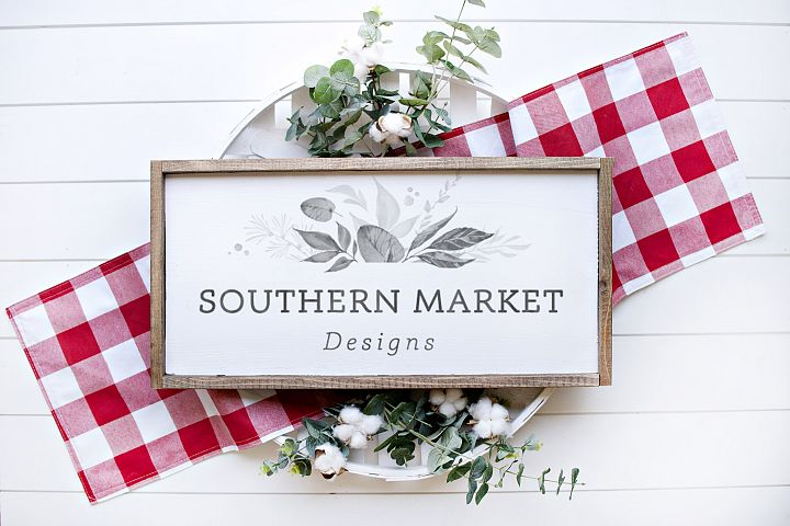 12x24 Wood Sign Mock Up Farmhouse Styled Photo