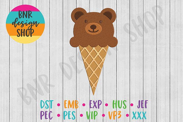 Bear Ice Cream Machine Embroidery Design