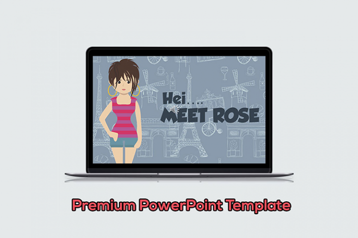 Female Designer Cartoon PowerPoint Template