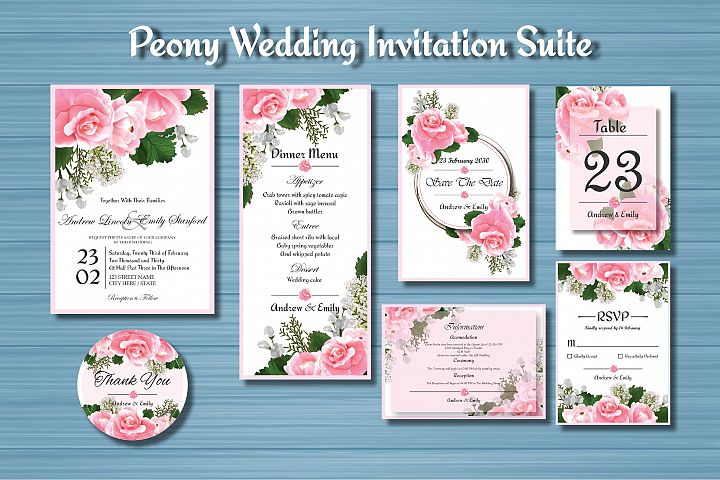 Peony Floral Wedding Invitation Suite