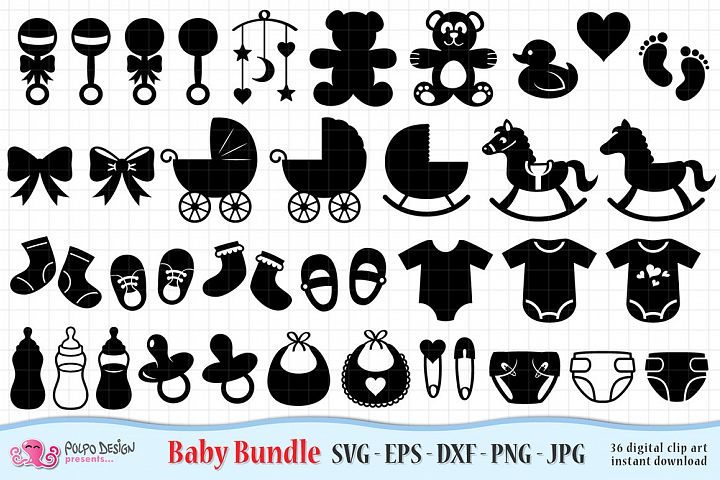 Baby SVG Bundle, Svg, Eps, Dxf, Jpg and Png.