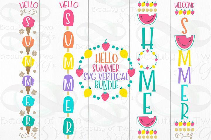 Hello Summer Vertical svg sign bundle, Summer porch svg