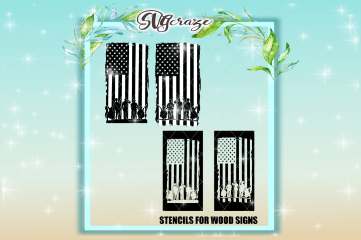 USA Soldiers Salute STENCILS INCLUDED SVG Dxf Eps Png PDF