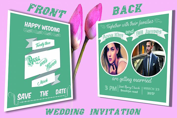 Wedding Invitation Card front and back