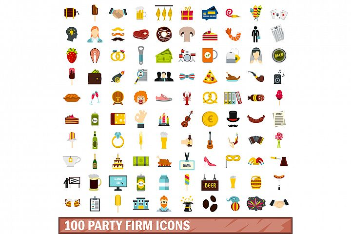 100 party firm icons set, flat style