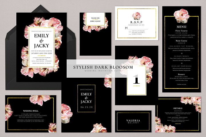 Stylish Dark Bloosom Wedding Suite