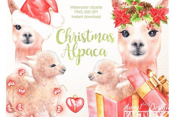 Christmas alpaca clipart