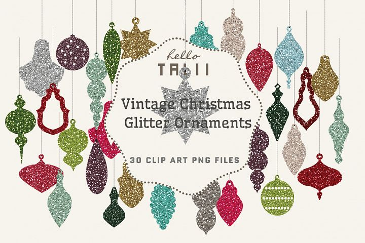 Christmas Glitter Ornaments Clipart