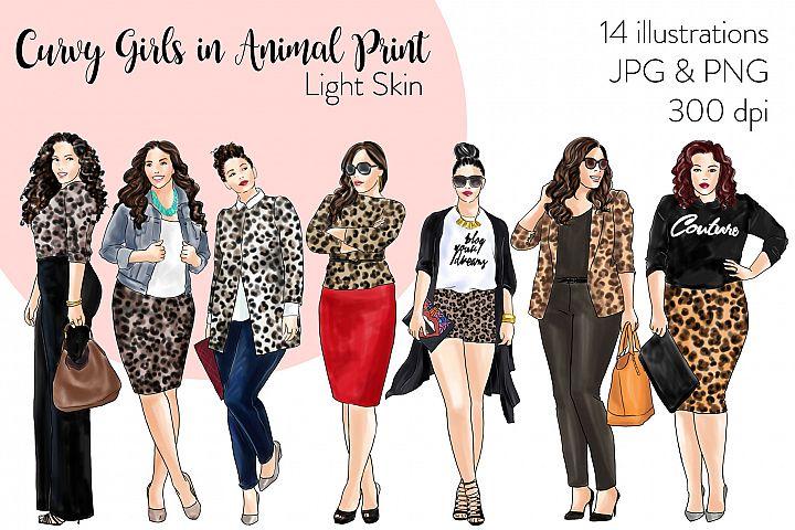 Fashion clipart - Curvy Girls in Animal Print - Light Skin
