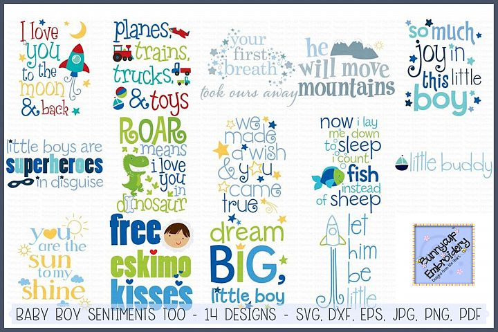 Baby Boy Sentiments Too SVG, Clipart, Printables