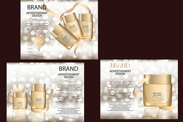Glamorous Foundation Glass Bottles Realistic Vector Mock-up , Template