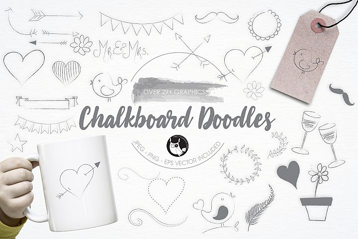 Chalkboard Doodles graphics and illustrations - Free Design of The Week