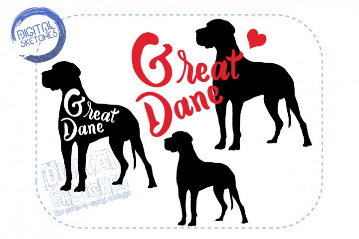 Illustration Great Dane Dog Set Cut File Animals Vector