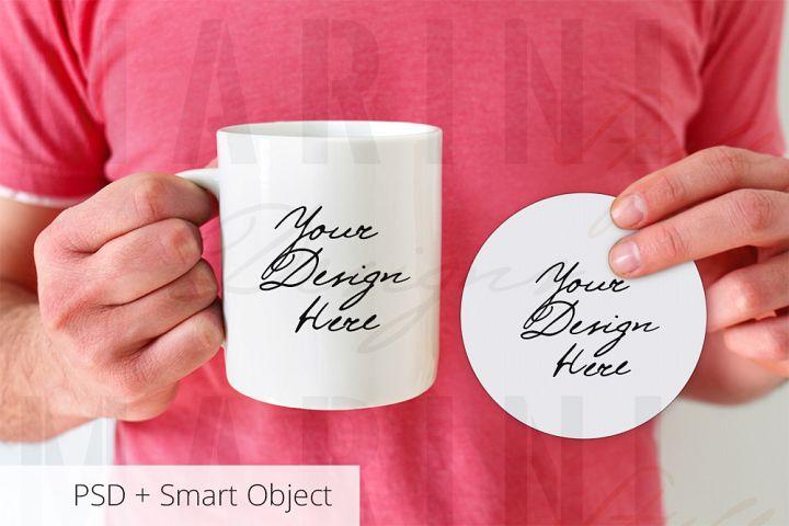 Mug & Coaster Mockup, round coaster & mug set mockup, 727C