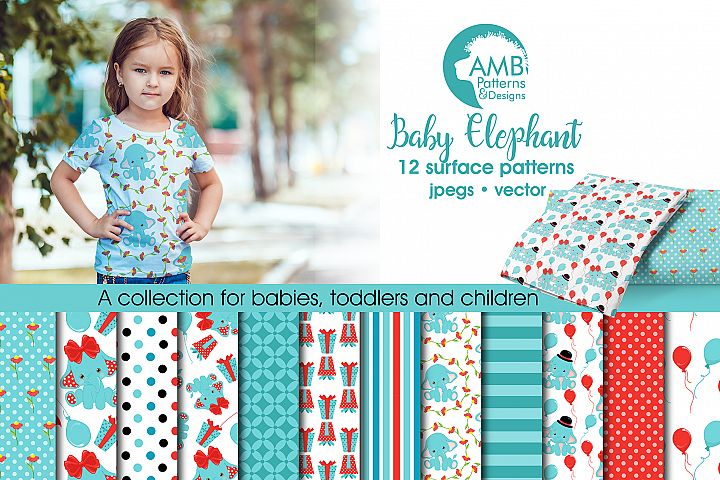 Baby Elephant patterns, Teal Elephant papers AMB-2279