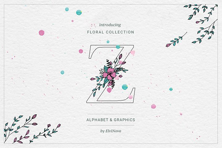 Floral Alphabet & Graphics