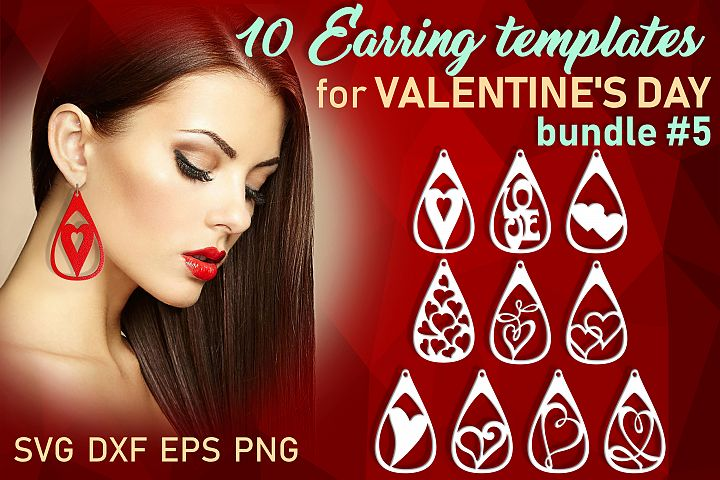 10 Leather earring bundle svg Teardrop earring Necklace