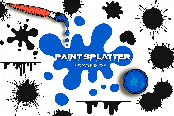 40 Hand Drawn Paint Splatters, Ink Blobs and Splashes