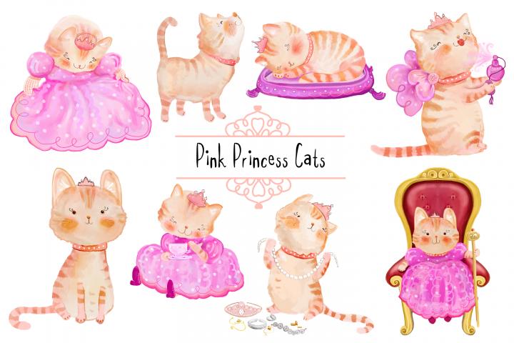 Pink Princess Cats CLIP ART | 8 PNG/JPEG illustrations