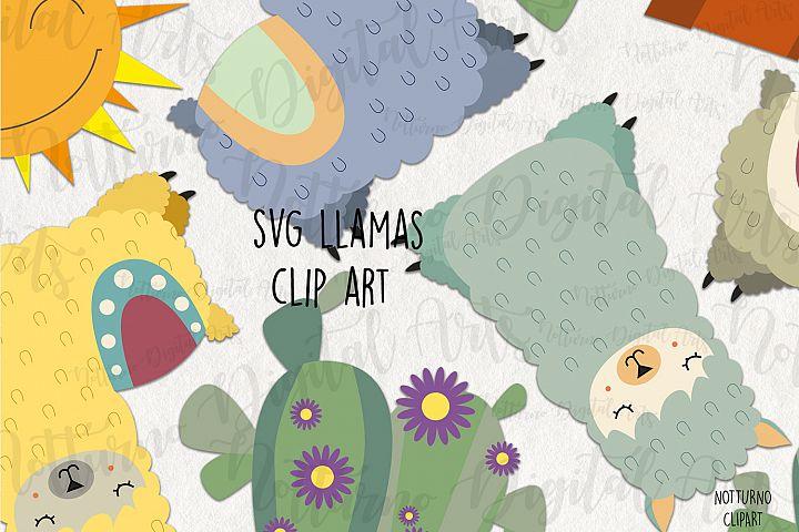 SVG Llama clipart. Set of digital clipart for scrapbooking