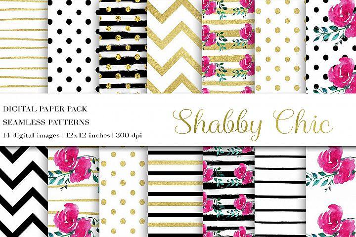 Flower Digital Paper,Shabby Chic Paper,Wedding Digital Paper