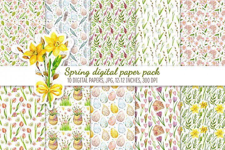 Digital Scrapbook Paper Pack. Spring floral set