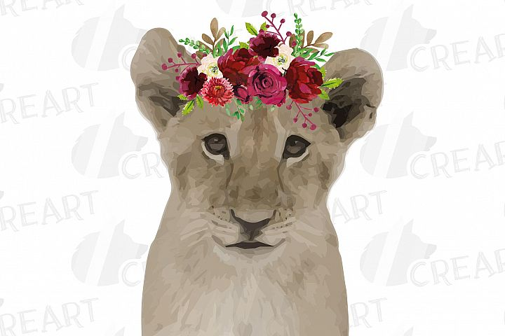 Baby lion with floral crown baby shower shirt decor clip art