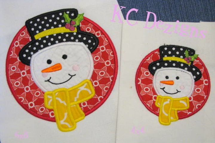 Snowman Circle Machine Applique Embroidery Design