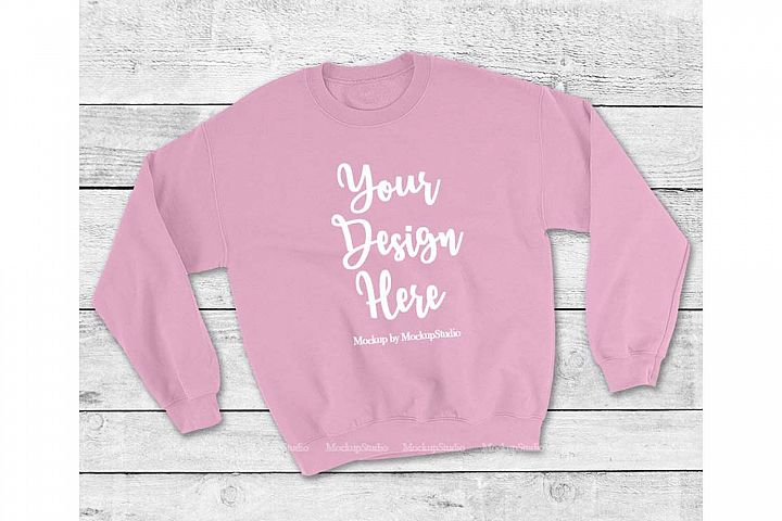 Light Pink Sweatshirt Mock Up, Unisex Sweatshirt Flat Lay